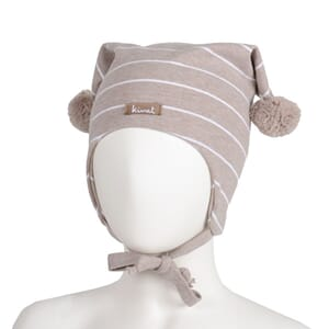 Striped windproof hat beige - Kivat