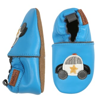 Leather shoe police car blue - Melton