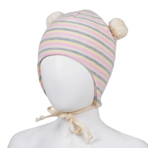 Striped baby hat pink/offwhite - Kivat