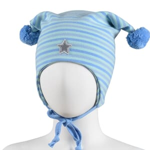 Striped windproof hat star blue/mint - Kivat