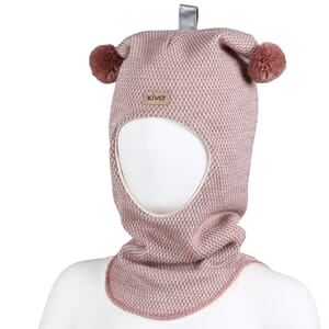 Hood with loop knit offwhite/dusty pink - Kivat
