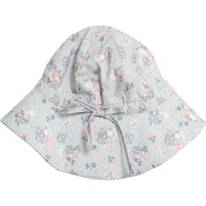 Baby Girl Sun Hat pearl blue flowers - Wheat