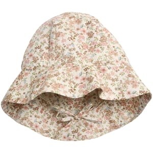 Baby Girl Sun Hat eggshell flowers - Wheat
