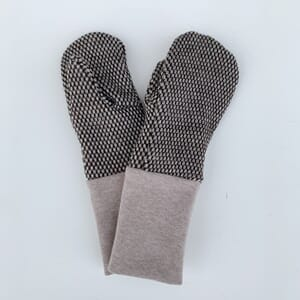 Mittens with loops offwhite/dark brown - Kivat