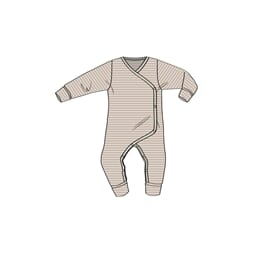Wool Wraparound Jumpsuit Frill fawn striped - Wheat