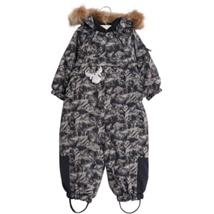 Snowsuit Nickie navy mountains - Wheat
