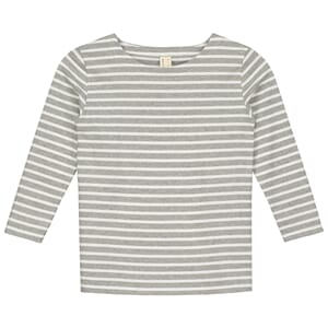 L/S Striped Tee Grey Melange/White - Gray Label