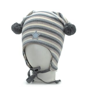 Striped windproof hat star grey/beige/offwhite - Kivat