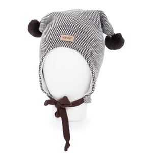 Hat with loop knit offwhite/dark brown - Kivat