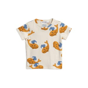 Whale Aop Ss Tee orange - Mini Rodini