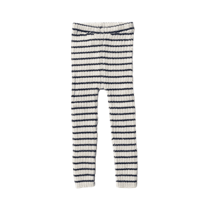 Rib leggings stripes ivory/navy - Esencia
