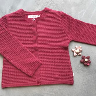 Knit Cardigan Betty red plum - Wheat