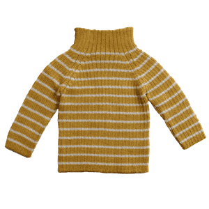 Rib sweater stripes amber/ivory - Esencia