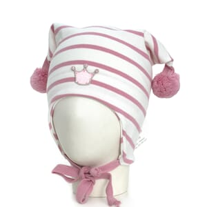 Striped crown hat windproof white/pink - Kivat