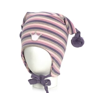 Striped crown hat windproof purple/pink/grey - Kivat