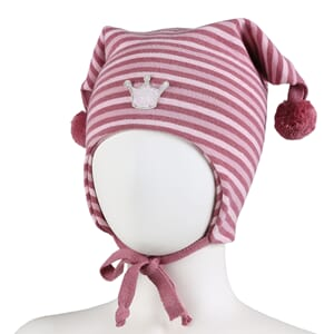 Striped crown hat windproof warm pink/pink - Kivat