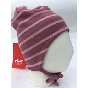 Striped windproof hat warm pink/light pink - Kivat