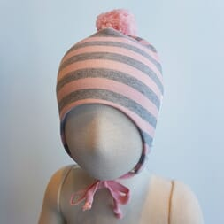 Striped windproof hat grey/soft pink - Kivat
