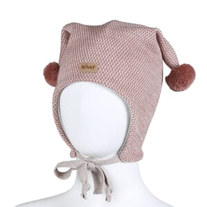 Hat with loop knit and offwhite/dusty pink - Kivat