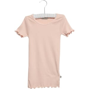Rib T-Shirt Lace SS powder - Wheat