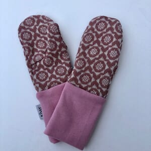 Mittens with flowers dusty pink/offwhite - Kivat