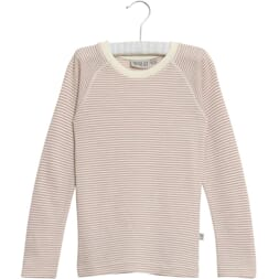 Wool T-Shirt LS fawn striped - Wheat