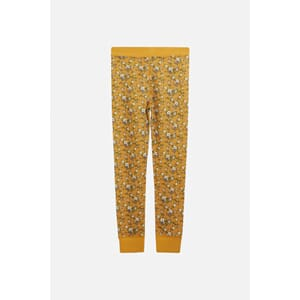 Laso Leggings ull/bambus blomster canary - Hust & Claire