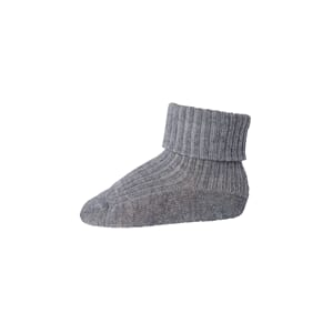 Ankle Wool Rib Turn Down grey marled - MP