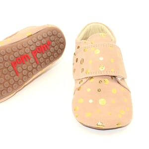 Beginners velcro shoe peach dot - Pom Pom
