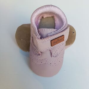 Leather shoe - Velcro misty rose - Melton
