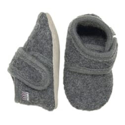 Wool soft shoe w/velcro Antrazite - Melton